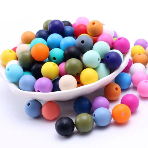 Round Silicone Teething Beads DIY Baby Nursing Necklace Teether Making BPA Free