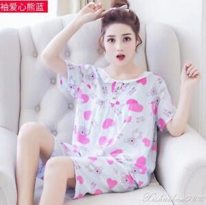 e8f28a2da Image is loading Lovely-Bear-Women-Short-Sleeve-Nightgown-Sleepwear -Nightwear-