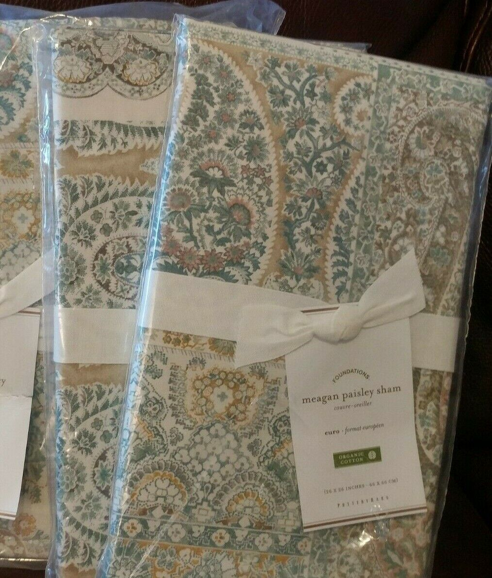 Set of 2 Pottery Barn Meagan Paisley Euro Shams NWT