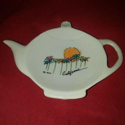 Vintage Teapot Shaped Porcelain Ring Plate California Palm Tree Sunset 5 Ebay