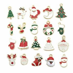 20Pcs//pack Enamel Alloy Mixed Christmas Charms Pendant Jewelry DIY Craft Making