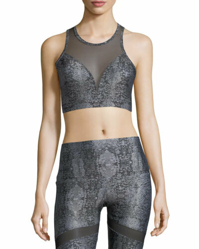 Details about  /Onzie Hot Yoga High Neck Bra 3640 Silver Snake