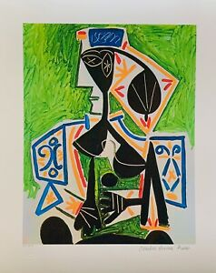 """Pablo Picasso WOMAN IN GREEN Estate Signed Stamped & Numbered Giclee 20"""" x 26"""""""