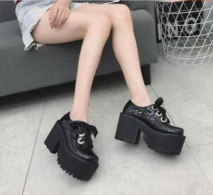 Womens-Chunky-High-Heel-Creepers-Ankle-Boots-Club-Knight-Platform-Shoes-Lace-up