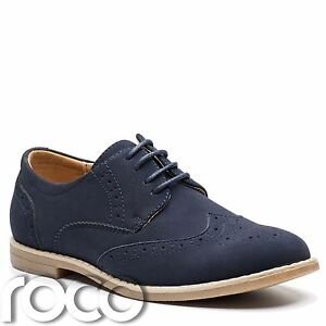 Image Is Loading Boys Navy Shoes Brogues Suede