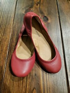 """lucky brand """"emmie"""" red leather ballet flat slip on casual"""