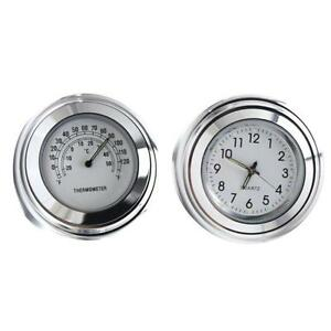 7-8-034-1-034-Motorcycle-Handlebar-Mount-Chrome-Clock-Dial-Watch-amp-Thermometer-For-Honda
