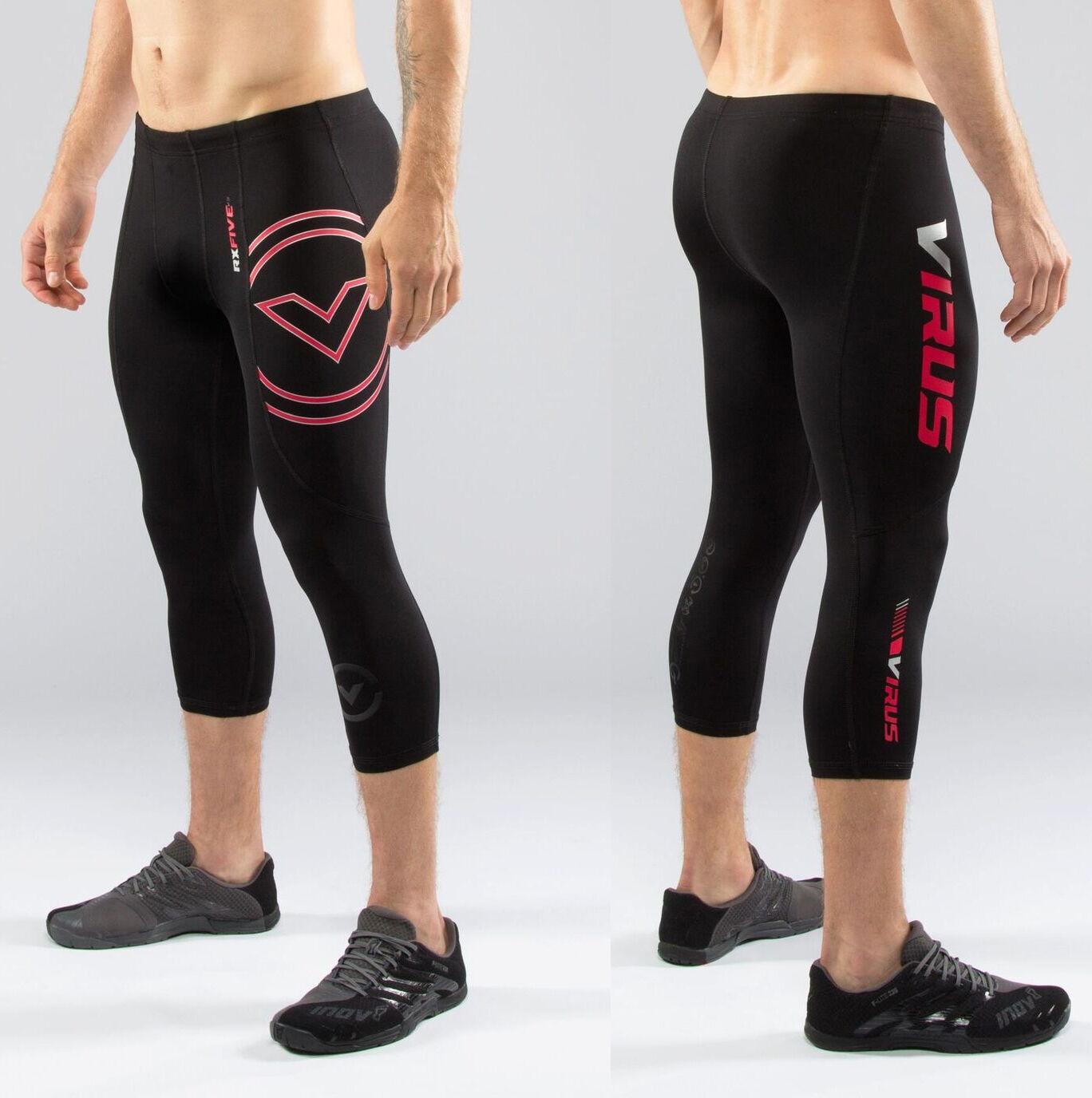 Virus Hombre Stay Cool 3 4 Largoitud Compresión Pierna Acampanada Pantalones (