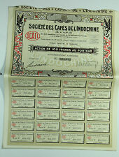 1926 French Indochina Bond Saigon Vietnam 100 Francs 24 Unused Interest Receipts