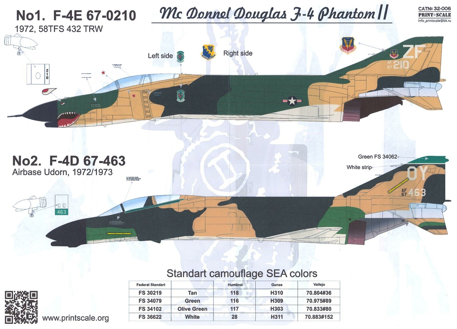 Imprimir Adesivos Escala 1//32 Mcdonnell Douglas F-4 Phantom Ii Parte 1