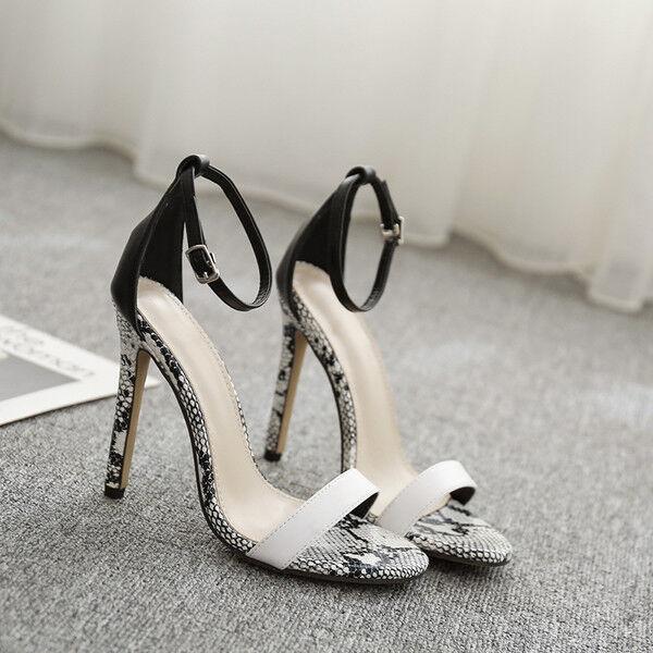 Sandali stiletto eleganti pelle tacco 12 cm nero bianco simil pelle eleganti eleganti 1025 506114