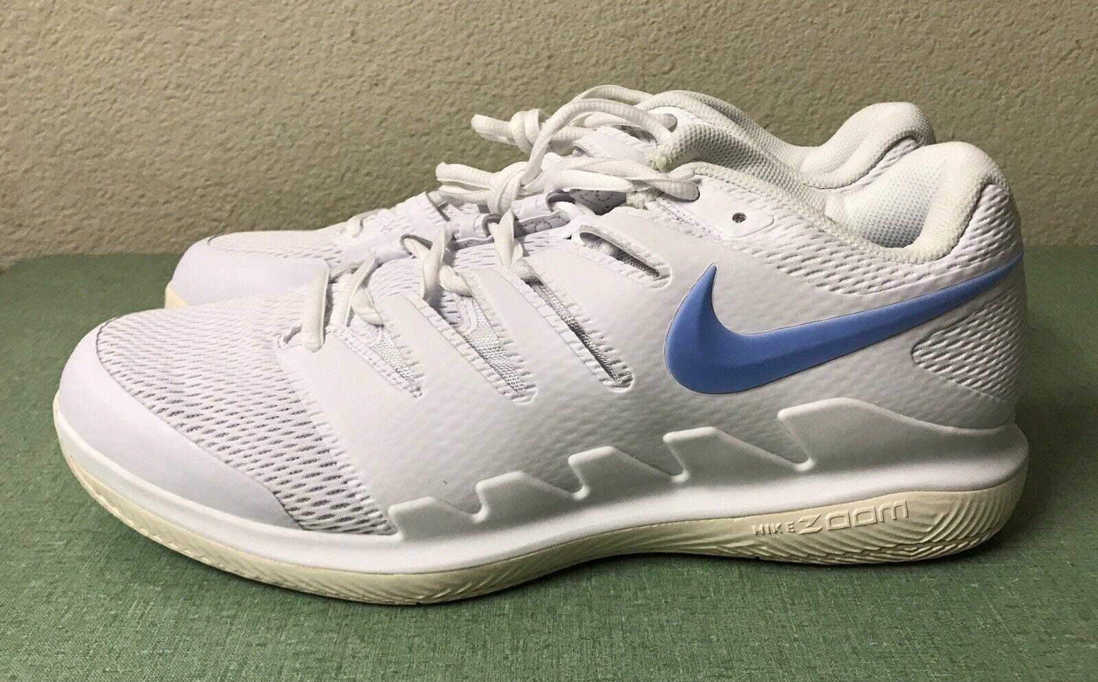 Nike Air Zoom Vapor X HC White bluee Tennis shoes Mens Sz 12.5 Federer Nadal NEW