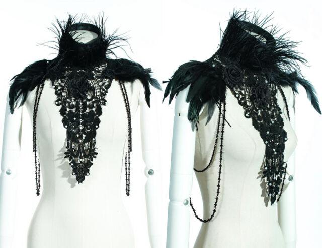 RQ BL Gothic Schultern Halskette Kragen schwarz szene Federn Romantik dark Goth
