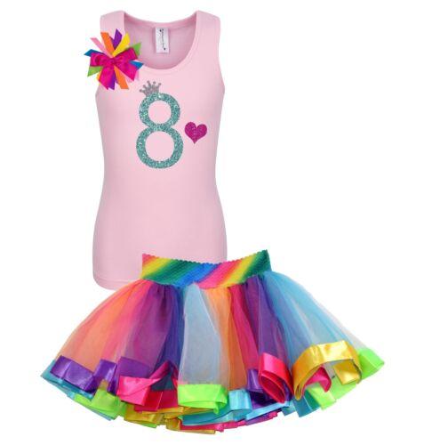 Bubblegum Divas Girls 8th Birthday Shirt Rainbow Party Outfit Custom 2PC Set