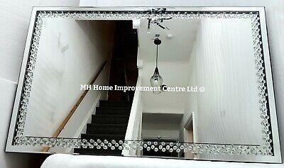 Sparkly Enclosed Floating Crystal Large Silver Wall Mirror 110x70cm Glitz Ebay