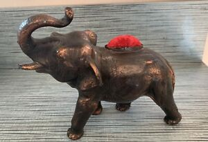 Vintage Antique Bronze Elephant Pin Cushion - Figure Statue