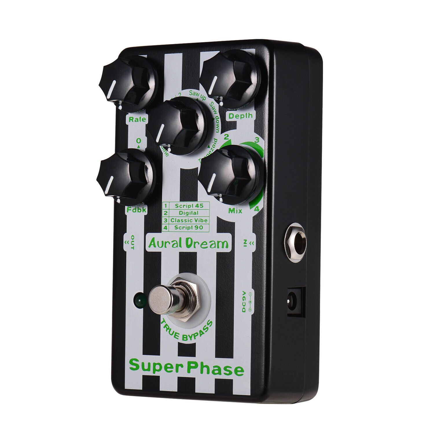 Aural Dream Phase Phaser Guitar Effect Pedal 4 Modes 6 Waves Aluminum W5F8