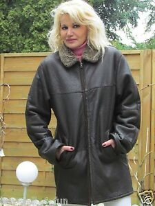 Mens-M-Shearling-Lambskin-Sheepskin-Trucker-Coat-Jacket-WOMENS-L-UNISEX-R1831