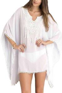 Robe Tunique De Plage Blanc Avec Crochet Mode Pas Cher D Ete Pour Femme Ibiza Ebay