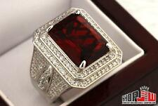 14k White Gold Finish .925 Silver Simulated Diamond Red Ruby Mens Ring Size 12
