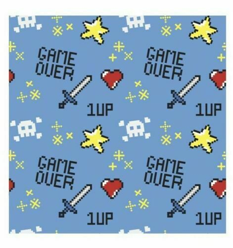 Gamer Game Over Fabric 18x21 Fat Quarter Gamer Design