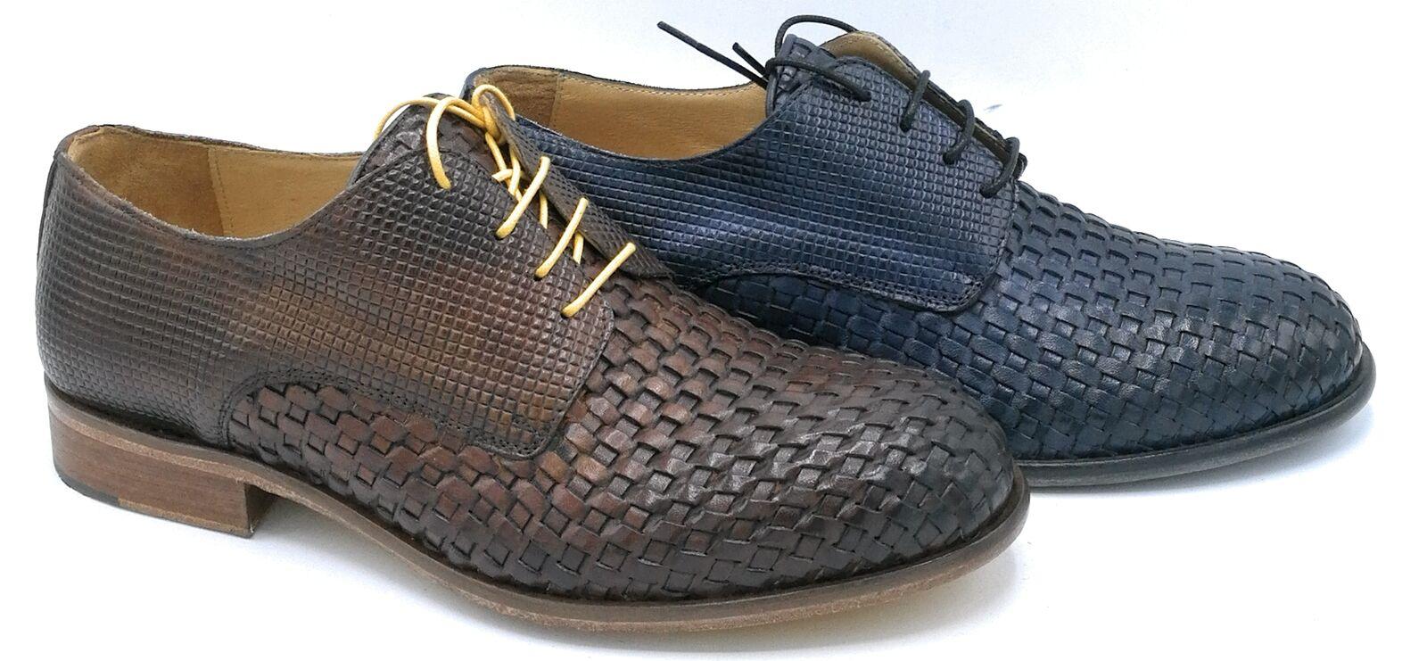 Exton 5354TR Chaussure Attachée Cuir Tressé Bcourir   Bleu