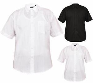 Para-Hombre-Llanura-de-manga-corta-Oficina-Informal-Cuello-Abotonado-Camisa-Formal-De-Bolsillo-en-el
