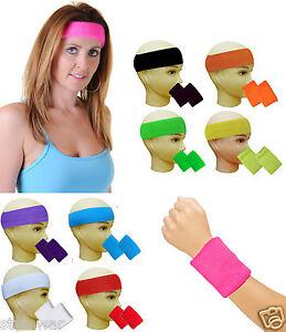 Image Is Loading Gym Exercise Sports Neon Sweat Headband Wristbands 80
