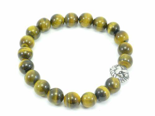 Tigers Eye Bracelet Lion Head Stretch Men/'s Beaded Stainless Steel Beads 10mm