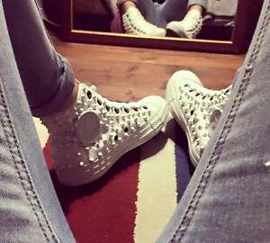 Converse Bianche Alte Monochrome All Star Borchiate Bianche Borchie Full Studs