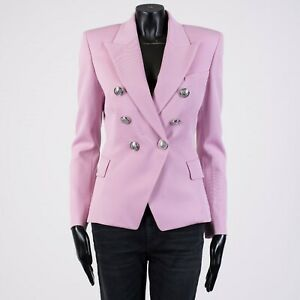 BALMAIN-2150-Double-Breasted-Blazer-In-Pink-Wool-Twill