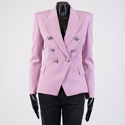 BALMAIN 3495$ Sequin Embellished Double Breasted Blazer In Black Viscose Blend