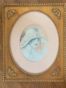 "Antique Old Victorian Large Gold Gild Gesso Wood Portrait Frame 13 5/8"" X 16 5/8"