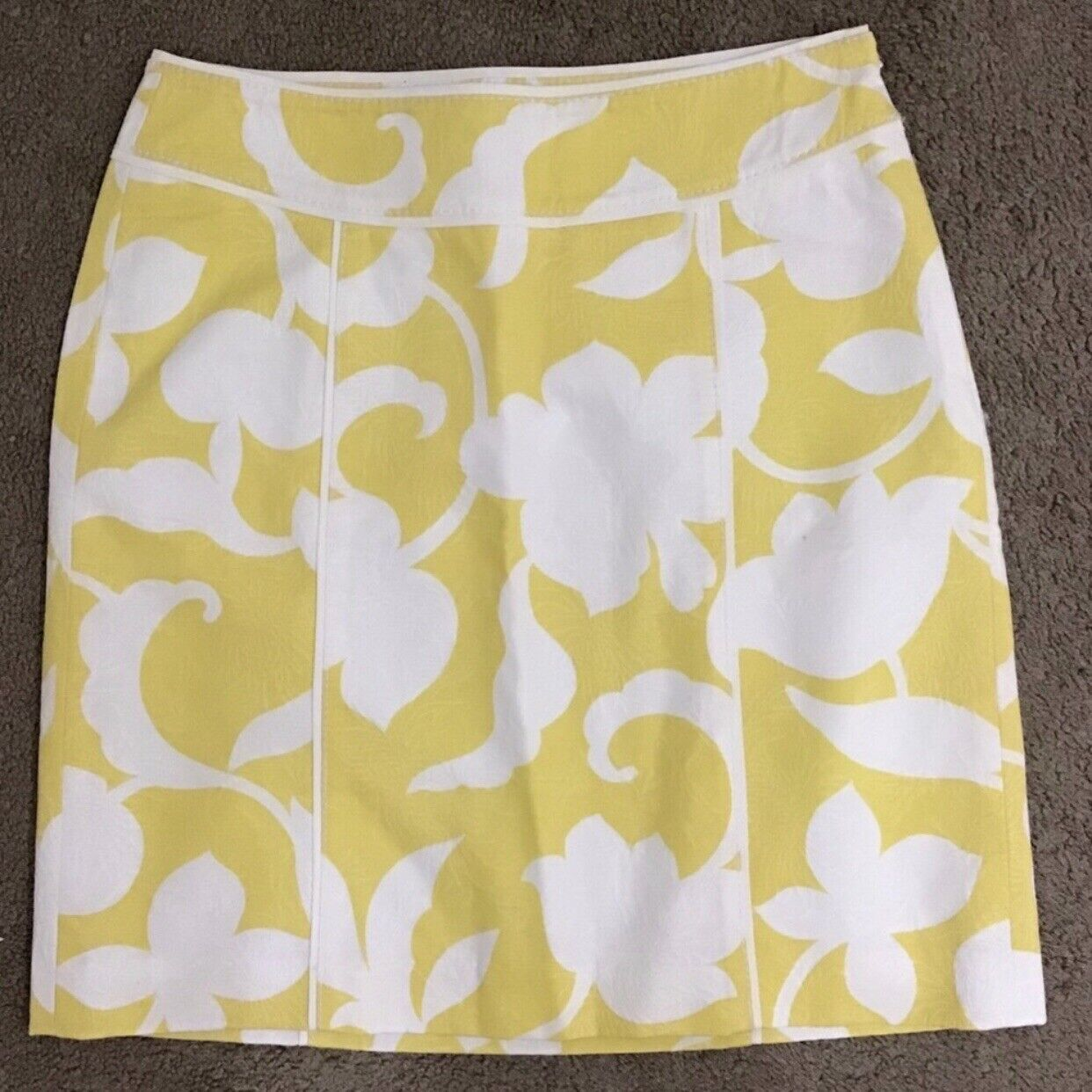 Ann Taylor Yellow & White Floral Pencil Skirt