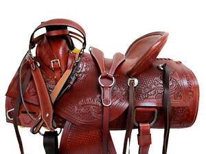 COWBOY-ROPING-WESTERN-SADDLE-TOOLED-LEATHER-HORSE-PLEASURE-PACKAGE-15-17-16-TACK