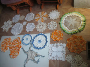Vintage Lace Hand Crocheted doilies lot vintage of 21 misc colors and shapes