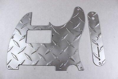 Satin Diamond Plate Aluminum Pickguard Set Fits Fender Tele Telecaster
