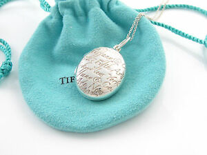 fe54fb7d5d57b Details about Tiffany & Co RARE Silver Oval Notes Script Fifth Ave 5th  Avenue Locket Necklace