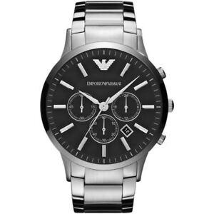 EMPORIO-ARMANI-AR2460-Sportivo-Chronograph-Black-Dial-Steel-Men-039-s-Wrist-Watch