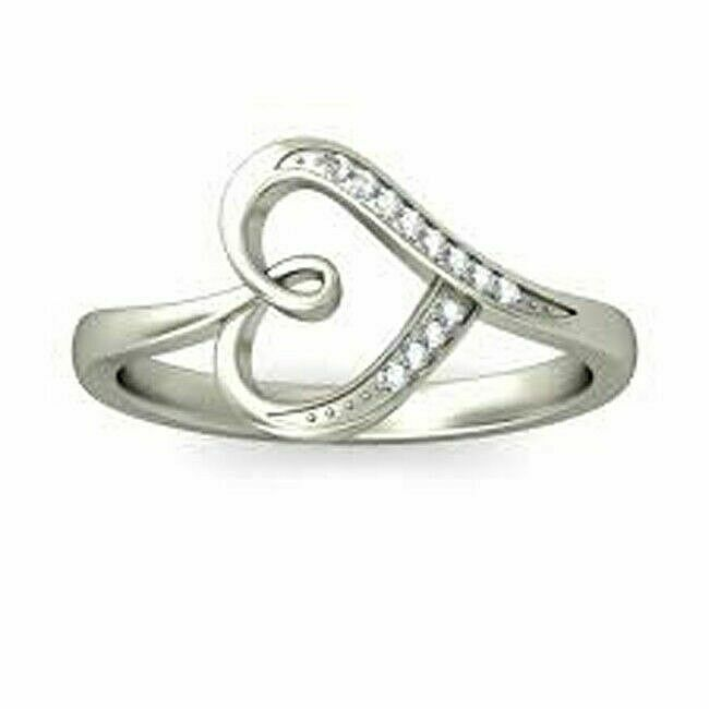 0.38CT NATURAL ROUND DIAMOND 14K SOLID WHITE gold HEART RING IN SIZE 7 TO 9