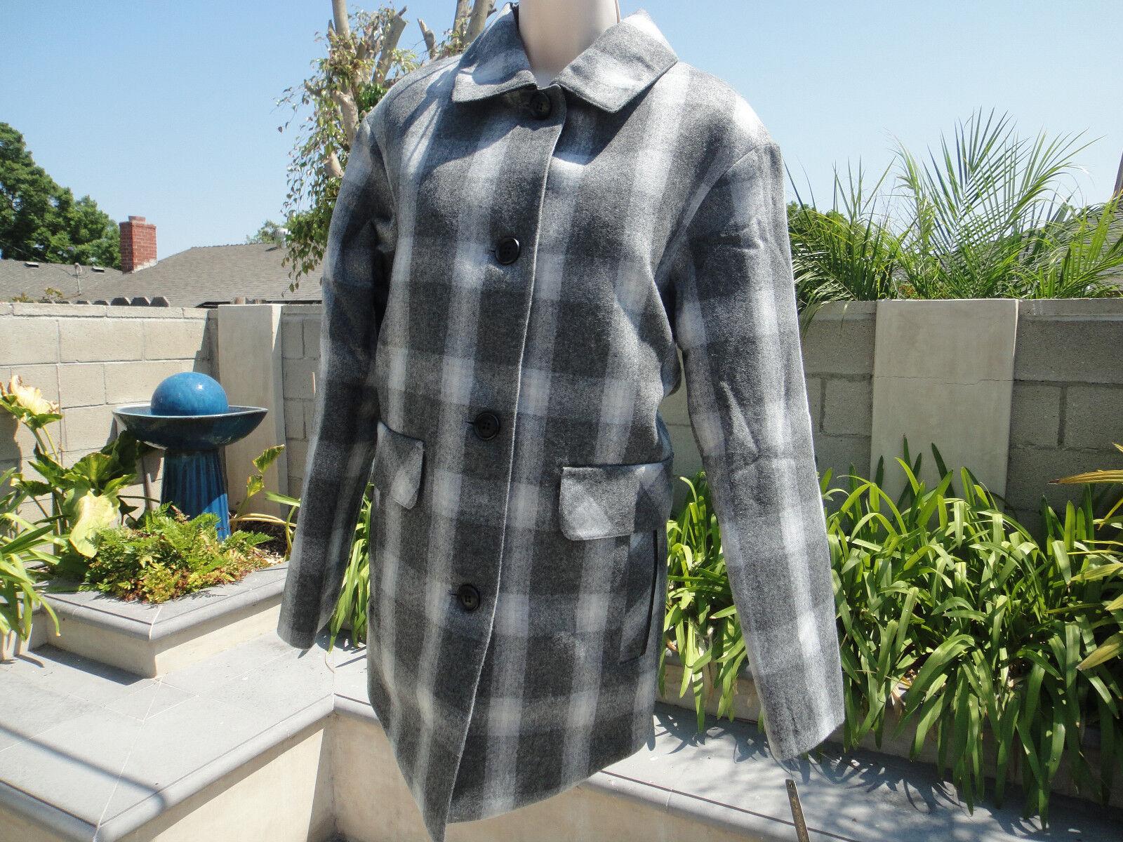 PENDLETON Wool Blend Shirting Plaid Coat, Quilt Lining Grey Tones, Wmns Sz L NWT