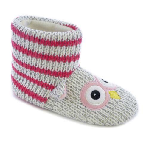 Niñas Niños Tejido OWL piel forrada interior de invierno cálido Tire de Botines Zapatillas OWL