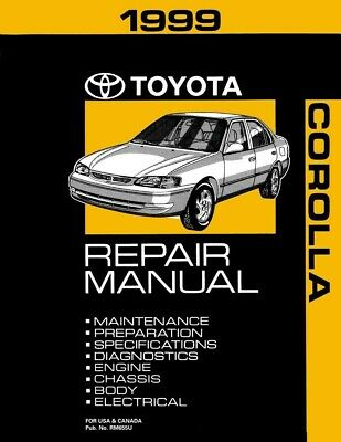 1999 toyota corolla shop service repair manual book engine drivetrain oem   ebay