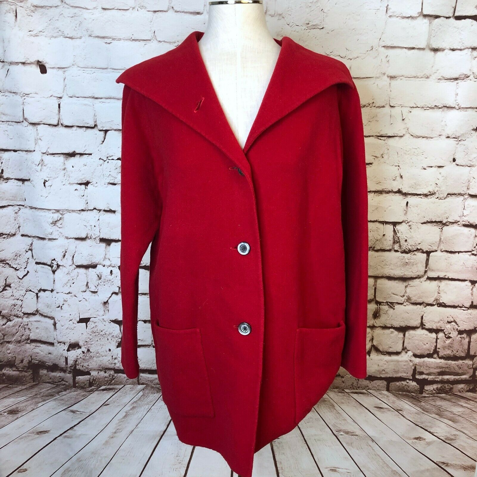 Eileen Fisher Red Wool Cashmere Blend Button Down Shawl Peacoat Size XS