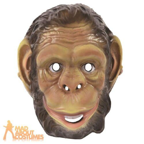 Adults Plastic Chimp Mask Ape Monkey Animal Mens Fancy Dress Costume Accessory