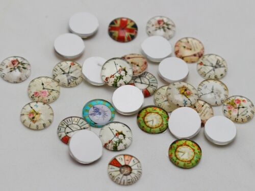 50 Pcs 12mm Photo Image Clocks Flatback Round Glass Cabochon Dome Flat Back Cove