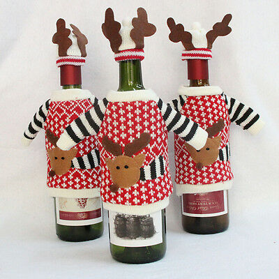 Table Decor Christmas Party Gift Wine Bottle Cover Cap Holiday Xmas Santa S6