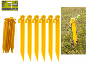 "6x Summit 8.5/"" Power Pegs Yellow = High Visibility Camping Flat Top Tent"