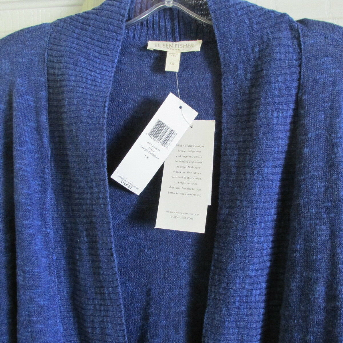 SIZE 1X Eileen Fisher bluee Linen Cotton Slub Shaped Shaped Shaped Cardigan NWT 93df1b