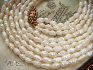 VINTAGE-JEWELLERY-REAL-RICE-PEARL-MULTI-TRIPLE-STRAND-NECKLACE-SPECIAL-GIFT